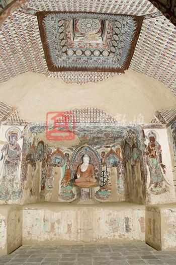 Constructed in the Jinglong era (707-710), namely the end of the Early Tang and the beginning of the High Tang, this cave was constructed as the family temple by the Yin Family at Dunhuang. Part of the paintings was renovated in the Later Tang and the Five Dyansties, and the statues were renovated in the Qing dynasty. The main chamber has a truncated pyramidal ceiling which features a medallion pattern in the center enclosed by the twisted vines and draperies that extend to the four slopes covered with the thousand Buddha motifs (partly damaged). There is a niche with a flat entrance in the west wall housing a seated Buddha renovated in the Qing dynasty, and painted images of four bodhisattvas and eight disciples. A bodhisattva is painted on each side of the niche. The south side of the adobe platform on the north side of the niche has an inscription with the portraits and titles of the Yin Family members, Yin Ciqiong and Yin Ciwang. Inside the central frame on the south wall is a preaching scene, in which Mt. Sumeru is painted in the upper with eight temple halls stand on it. The two sides and below the preaching scene are covered with more than 30 scenes of figures and buildings in the landscape context, and each scene has one or several cartouches with unidentified words. The middle part below the preaching scene is a cartouche with some words identified. The lower parts show severe flaking and loss of paint. There is an alien-styled figure on the lower right side. Opinions about the contents of the murals differ: some consider it was executed according to the Lotus Sutra, while some think it is based on  the Usnisa Vijaya Dharani Sutra. We accept that the content is according to the USnisa Vijaya Dharani Sutra. The whole north wall is covered with the Amitayus sutra illustration, which consists of three parts: the pure land of Amitabha in the center, the story between Binbisara and Ajatsatru on the west side and the Sixteen Meditations on the east side. The whole east wall is devoted to the illustration of the Universal Gate of the Lotus Sutra. Right above the entrance is a preaching scene of Sakyamuni on the Vulture Peak. The upper parts of the both sides of the entrance are used for scenes of Avalokitesvara saving people from disasters while the lower parts have images of the thirty-three manifestations of Avalokitesvara. Along the entrance on the north side is an image of bhiksu Hong Ren painted in the Five Dynasties. The tent-like ceiling of the corridor has two slopes containing the images of Ksitigabha and Ten Kings painted in the Later Tang. The front chamber was repainted in later dynasties and it is severely damaged.