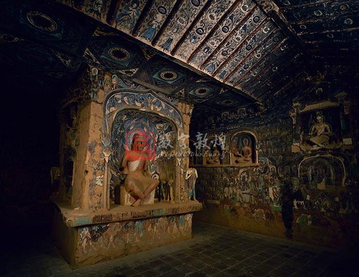 Constructed in the Northern Wei dynasty, and located on the middle section of the cliff, this is the earliest central-pillared cave at Mogao. It has a gabled ceiling in the front and a flat ceiling in the back. Under the two ends of the beam of the gabled ceiling and the molded rafters on both slopes are wooden brackets, a structure of Traditional Chinese architecture. Between the rafters are images of celestial beings holding lotuses.The flat ceiling in the back is connected to the ground by the central pillar, which has niches in all four sides for various statues. The large niche in the east side contains a cross-legged Maitreya Bodhisattva, which was originally flanked by four attendants, and now there is only one on the south side and two on the north side. On both sides of the nimbus on the west wall in the niche are attendant bodhisattvas respectively above Vasistha and Mrgasirsa. On the ceiling of the niche are apsaras. The lintel is decorated with reborn children on lotuses. The niche beam shaped like a dragon is supported by two pillars wrapped in painted silk. Most molded figurines on the two sides or above the niche have been damaged, only a few are preserved. The other three sides each have two niches, one above the other. The upper niches shaped like the Chinese traditional gateway on the south and north sides each contain a cross-legged Maitreya bodhisattva, while the lower arch niches contain a dhyana Buddha. The upper niche shaped in the form of two spreading trees and the lower arch niche in the west side each contain a dhyana Buddha flanked by two attendant bodhisattvas out of the niche. There are molded figurines on the two sides and above the upper niche, which are blackened by sootiness. On the four sides of the central pillar below the niches are images of yakshas.A niche with the Chinese styled gateway is dug out of the side walls under the gabled ceiling and contains a cross-legged Maitreya bodhisattva. And four arch niches are made in each of the side walls in the back, respectively contains a preaching Buddha or a dhyana Buddha. Among them the heads of the Buddha statues in the south wall are all partly damaged, while two in the north wall are well preserved.The top section of the four walls are used for heavenly musicians, and below them are thousand Buddha motifs, in which each Buddha has an inscription beside indicating his title. There are totally 1235 Buddhas. The west sides of both side walls each contain a preaching scene, and in the center of the west wall is a preaching scene of a white-robed Buddha.The middle registers of the south and north walls under the niche in the front are covered with Jataka tales and Buddha's life stories. On the south wall is an illustration of Mara's Attack, and to its west are scenes of the Sattva Jataka. On the north side is the karma story of Nanda, and to its west is the Sibi Jataka.There is a successive decorative border consisting of algebra motifs such as checkboards and lozenges and plants like transformed lotuses and twisted honeysuckles on the four walls which separate the upper thousand Buddha motifs, preaching scenes and story paintings from the lower images of the yakshas.There is a window above the entrance. On both sides of the entrance and the window are thousand Buddha motifs. A part of a Sui Dynasty preaching scene is preserved on the north wall of the corridor.
