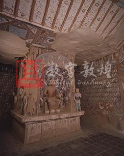 This cave was constructed in the period when the Hexi region was united by the Northern Wei. Originally it was a cave with a central pillar, a gabled ceiling in the front and a flat ceiling in the back. Due to the collapse of the east wall, only a tiny part of the gable ceiling is preserved today. The cave is square in plan with a Han Chinese styled gabled ceiling in the front. On the west slope are celestial beings holding lotuses. The beam is decorated with painted laternendecke motifs. On the flat ceiling are also painted laternendecke motifs, though only two motifs in the southeast corner have survived. One of them depicts a few naked children swimming in a lotus pond. In the outer corner are four asparas. It was surrounded by a decorative border of honeysuckles.The central pillar in the back connects the ground with the ceiling. It has a niche on each of its four sides. The arch niche in the east side contains a statue of Maitreya sitting with legs pendent (whose eyes, nose and hands have been damaged) and wearing a kasaya with the right shoulder exposed. The folds were made by sticking on strips of mud and inscribing  natural and smooth lines. The exterior of the niche is divided into an upper level and a lower level, which are respectively covered with ten attendant bodhisattvas. On the top of the niche are four apsaras and Buddha's halos. The niche lintel is decorated with reborn children on lotuses and a dragon head on each end. There was a heavenly king alongside each side of the niche. Now there is only one left.  This is the only painted statue of lokapala of the Northern Dynasties at Mogao. Above the niche are molded statues stuck to the surface, and below, along the edge of the niche are donors of the Northern Wei (obscured). At the bottom of the base are donors of the Song dynasty (obscured). There other three sides each have a upper niche and a lower niche. The two upper niches on the south and north sides are shaped like the Han Chinese city gates with a bodhisattva statue inside, while the other niches contain a dhyana Buddha statue flanked by two bodhisattva statues out of the niches.On the north and south walls below the gabled ceiling are large-sized preaching scenes, most of which are damaged. In the center of the back part of the sidewalls is a small preaching scene. The extant murals on the west, south and north walls in the back of the chamber are divided into three registers from top down respectively for the heavenly musicians, thousand Buddha motifs, and yakshas. Between the images of the yakshas and the thousand Buddha motifs is a horizontal band of narrative stories which runs through the three walls. On the south wall is the narrative about a Samanera (novice monk) committing suicide in order to obey Buddhist precepts and about the karma stories of an inferior dog. On the west wall is the nine-colored deer jataka, and on the north part of the west wall and the north wall are paintings about the karma of Lady Sumati. These story murals painted on a redish brown ground, focus on the figures and animals, while the landscape, houses, horses and chariots are just used to suggest the background of the story.  This is exactly the extension of the traditional Han and Jin painting styles in Buddhist murals.The narrative story paintings in this cave are rendered in a comptetely new style and composition compared to the earlier works form the inception of the Mogao Grottoes.  They are the masterpieces of the narrative story paintings at Mogao, which exerted far-reaching influence on the development of the Buddhist art at Mogao.