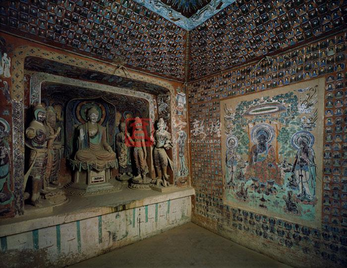 Constructed in the Early Tang and renovated in the Five Dynasties, this is a small hall cave with a truncated pyramidal ceiling. There is a niche with double recesses dug out of the west wall, containing a seven-stuccoed figures; a Buddha, two disciples, two bodhisattvas and two heavenly kings. The heavenly kings have features of a non-Chinese foreigner;  high nose bridges, thick eyebrows and big eyes. The ceiling center has a pattern of twisted vines.  The drapery around the center extends to the four slopes. The decorative borders of twisted vines connect the the four walls with the four slopes. There is a preaching scene of Maitreya in the center of the south wall, which is surrouded by the thousand Buddha motifs. The north wall presents an illustration of the Amitabha sutra in the center, also surrounded by the thousand Buddha motifs. There are three preaching scenes above the entrance on the east wall. The south side of the entrance depicts a preaching scene of the Medicine Buddha, while the north has a standing disciple image with four donor figures. On either north or south of the brim of the entrance is a worshiping bodhisattva painted in the Five Dynasties. On the tent-like ceiling of the corridor in a Buddha in meditation painted in the Five Dynasties. On both of the north and south walls of the corridor are covered with the Buddhas in meditation, only two has survived on each  side walls.