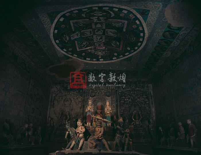 This cave was constructed in the later period when Guazhou was ruled by the Western Xia. With the diversified contents and art of both exotic and esoteric Buddhism, supported respectively by Chinese and the Tibetans, it is a most representative cave with the most matured and unique art. The cave is rectangular in plan with a dome ceiling. In the central back is an octangular altar with three steps on which stand a few statues of the Qing dynasty. The lower parts of the four walls are platforms of double steps built in the Qing dynasty, on which stand the statues of eighteen arhats. The ceiling is covered with a Mandala: in the center are five Buddhas of five directions. The middle part of the east wall is used for depicting Buddha's life stories, and on the two sides are a mandala of fifty-one headed thousand-armed and thousand-eyed Avalokitesvara of exotic Buddhism, a garbhadhatu-mandala of the esoteric Buddhism, and an illustration of the Sutra on Deva's Questions of exotic Buddhism. On the south wall, starting from the east, are a mandala, the Amitayus sutra illustration and a mandala. The north wall is in the same composition: a mandala, a pure land illustration and a mandala. On the space above the entrance in the west wall is a Vimalakirti sutra illustration, and the both sides of the entrance are respectively used for the illustrations of Manjusri and Samantabhadra. The north and south walls of the corridor are occupied by donor figures.