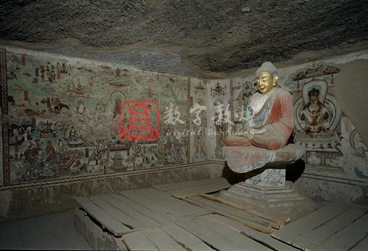 The main chamber is square in plan with a central altar, and the front chamber is rectangular in plan. Both are connected by a long corridor. In the Maitreya sutra illustration in this cave, there is an inscription in ancient Tibetan and an image of a wedding ceremony of a Tibetan man with a Chinese woman, from which it can be determined that it was constructed in the period when Guazhou was occupied by the Tibetans and Shazhou was not yet, namely from the 11th year of Dali era (776) to the second year of Jianzhong (781). Part of the ceiling of the main chamber has collapsed, and the front chamber was renovated in the Five Dynasties. The original paintings are well preserved. On the east wall is a Mandala of Eight Bodhisattvas, on the south wall is an Amitayus sutra illustration, and on the north wall is a Maitreya sutra illustration. On both sides of the illustration are single images of Avalokitesvara, Mahasthamaprapdta and Kistigabha bodhisattvas. On the two sides of the entrance in the west wall are illustrations of Manjusri and Samantabhadra. In the front chamber, the south side and north side of the east wall respectively depict Vidudabha and Vaisravana, who protect the paradise of Buddhism.